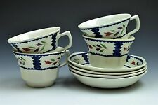 Adams English Ironstone Lancaster White Blue Cup and Saucer  - Set of 4