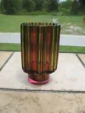 RARE 1960'S TAPIO WIRKKALA FOR ROSENTHAL TRI-COLOR STUDIO GLASS COGWHEEL VASE