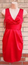 NEW LOOK RED SATIN TAILORED TULIP PENCIL TUBE BODYCON RARE FORMAL DRESS 6 XS