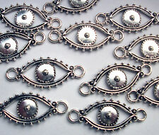 10 Evil Eye All Seeing Eye Connectors Silver Tone Charms