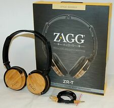 NEW Zagg ZR-T Premium Wood Stereo Headphones BAMBOO Deluxe iPhone 6/5s/5/4s/iPad