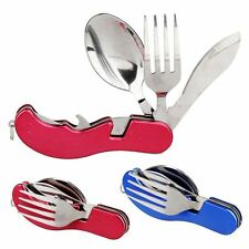 Outdoor 3in1 Folding Travel Camping Utensil Stainless Pocket Spoon Knife Fork