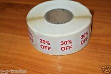 """LOT 100 Self-Adhesive 30% OFF Labels 3/4"""" Stickers Tags Retail Store DISCOUNT !"""