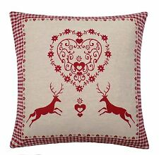 """2 X CHRISTMAS REINDEER HEART THICK WOVEN COTTON GINGHAM CUSHION COVERS 17"""""""