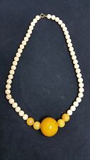VINTAGE NECKLACE EGG YOLK AND OFF WHITE BAKELITE 24""