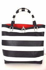 Karen Millen Black White Striped Faux Leather Bucket Tote Shopper Shoulder Bag