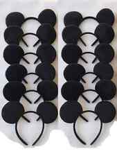 10 PC LOT MICKEY MOUSE EAR HEADBANDS SOLID BLACK PLUSH PARTY FAVORS COSTUME