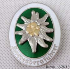 WWII WW2 German Metal Mountain Division Edelweiss Badge Pin Insignia -F884