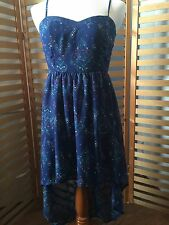 Mimi Chica Blue High Low Dress Corset Free People Style Top Back Zipper Size M
