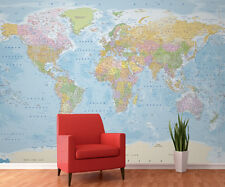 Wall mural giant photo wallpaper Blue Political Map of the World office bedroom