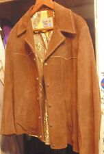 PIONEER WEAR Vintage 70s WESTERN Heavy Suede Leather JACKET Coat Mens 42 regular