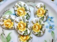 Vintage 25x18mm Cabochons,Floral Cabochons,Yellow Rose Cabochons, Limoges #1142