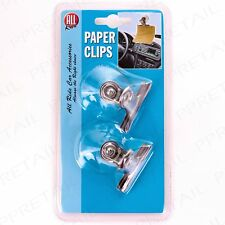 2Pc  SUCTION CUP PAPER CLIPS Clear Spring Loaded Paper Desk/Car Memo/Map Holder