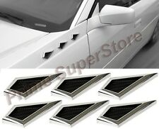 Universal Chrome Front Bumper/Side Fender AirFlow Mesh 6 Vents Trim 4 Car/Truck