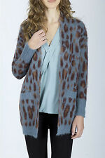 YERSE BLUE BROWNS JACQUARD ANIMAL PRINT LONG OPEN CARDIGAN WOOL MIX SMALL £139