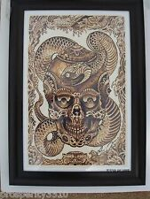 Skull Framed Print Signed by Ami James Tattoo Design Art Print 448