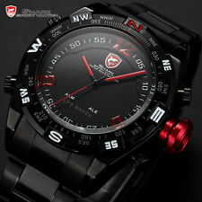 Red Bullhead Shark Mens LED Digital Stainless Steel Date Day Quartz Sport Watch