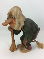 "Rare Henning Norway Carved By Hand Old Man Troll Walking With A Cane-9"" Tall"
