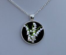 Lily Of The Valley Pendant Necklace White On Black Flower Art Picture Jewellery