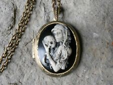 (BRONZE LOCKET)--ZOMBIE WOMAN - SKELETON BABY - (TATOOS) - SUGAR  SKULL -CAMEO