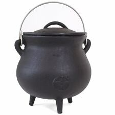 Large Cast Iron Cauldron Pot Witches Wicca Pagan Gothic Pentagram With Handle