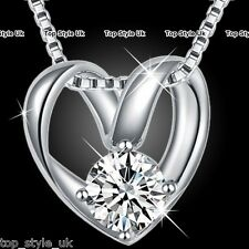 BLACK FRIDAY DEALS 925 Silver Heart Diamond Necklace Women Xmas Gifts for Her W3