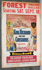 KING RICHARD AND THE CRUSADERS Orig 1954 Movie Poster FOREST THEATRE DALLAS, TX
