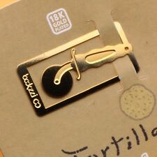 mini COOKING TORTILLA PIZZA 18k gold plated bookmark for cook book recipe tools