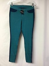 NWT Women's Hue Two Tone Denim Leggings Size Small Viridian #399P