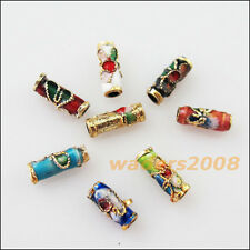 16 New Charms Mixed Enamel Cloisonne Tube Accessories Spacer Beads 3.5x9mm