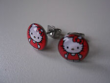 1 Paar super Süße Hello Kitty  Ohrstecker  Motiv 10 x 3 mm  Stecker 0,8 mm