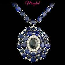 $19700 CERTIFIED 14K WHITE GOLD 62CT NATURAL SAPPHIRE 1.00CT DIAMOND NECKLACE