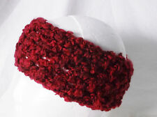 Crochet Headband Earmuff Warm & Cozy Red Wine-Handmade by Pizazz Creations
