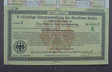 8 - 15% German Government 1 Billion Bond to Bearer 1923 uncancelled + coupons