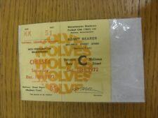 16/12/1972 Ticket: Wolverhampton Wanderers v Chelsea (Complete Ticket). Thanks f