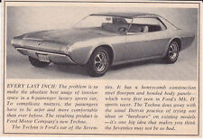 1968 FORD TECHNA EXPERIMENTAL CAR  ~  NICE ORIGINAL SMALLER ARTICLE