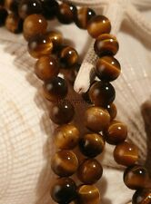 "Tiger Eye Natural Round Stone Bead Strand For Bead Craft 6 MM 16"" (1)"