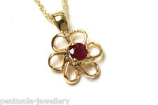 9ct Gold Ruby Pendant and Chain Made in UK Gift Boxed