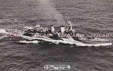 "ORIGINAL Photograph Royal Navy. HMS ""Frobisher"" Heavy Cruiser. Camouflaged. 1942"