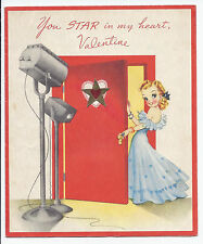#956 Vintage 1940s Blonde Movie Star Lights Camera Action Hearts Valentine Card