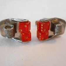 Vintage Silver-tone Cuff links Revolving Red Plastic Dice AHB