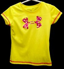 Under Armour Heat Gear Girls Size 5 T-Shirt Kids Pink And Yellow Poka Dots