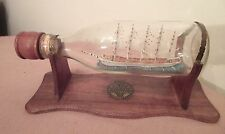 vintage handmade 1902 Preussen German mini ship in a bottle sculpture Folk Art