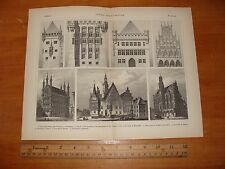 OLD 1888 GERMAN GOTHIC ARCHITECTURE ILLUSTRATION GERMANY PUBLIC BUILDING ANTIQUE