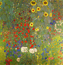 GUSTAV KLIMT : FARM GARDEN AND SUNFLOWERS : 24 INCH CANVAS FLOWER FINE ART PRINT