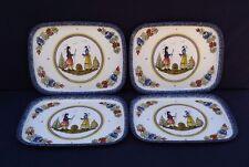 Set of 4 Vintage Trays Quimper HB Henriot Massilly France Blue White Decorative