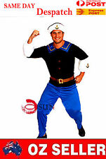 MENS Costume Fancy Dress Up White Navy Sailor Outfit Fancy Dress up L XL 2XL C50