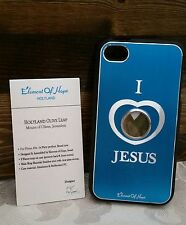 L@@K iPhone Case 4 4s Holy Element Israel Christian Teal Olive Leaf Cross NEW