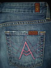 7 FOR ALL MANKIND sz 26 x 30 Pink A Pocket  New York Dark NYD Jeans 100% Cotton