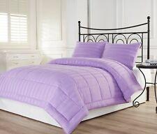 3pc Dobby Stripe Down Alternative Lightweight Comforter Set Purple Queen